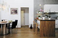 wood, white, concrete kitchen design