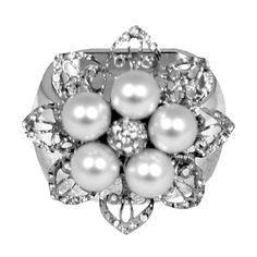 ISABELLA ADAMS 5 Pearl Napkin Ring (Set of 4) Silver $99.99 PICK UP OR SHIPS FREE * BEST PRICE GUARANTEE * www.agnellinos.com
