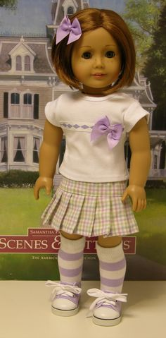 Easter Plaid - skirt set for American Girl doll. $40.00, via Etsy.  I just love the way the socks and shoes go with the skirt and shirt.