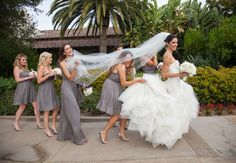 Bridesmaid fun // Photo: Samuel Lippke Studios and Allan Zepeda // Wedding Planning: Details Details // TheKnot.com