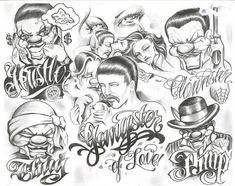Chicano Style: Gangster of Love- Pimp - Clownster - Thug- Hustler Chicano Tattoos, Chicano Drawings, Tattoo Drawings, Body Art Tattoos, Gangster Tattoos, Ear Tattoos, Skull Tattoos, Tatoos, Boog Tattoo