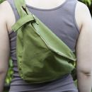DIY sling backpack. Good basic pattern, but I would add a clasp to the strap.