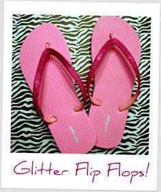DIY glittered flip flops