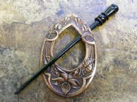 Floral Teardrop Victorian Brass Shawl Pin, Copper Ox Finish