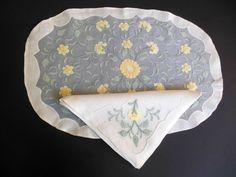 Vtg MADEIRA 16 Pc Hand Embroidered Linen & Organdy Placemats & Napkins PN38 #Handmade