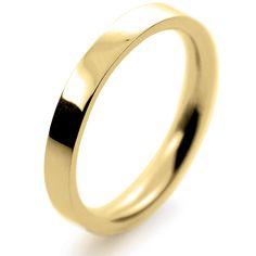 18ct Yellow Gold Wedding Ring Flat Court Medium - 2.5mm