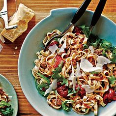 Sausage, Tomato, and Arugula Fettuccine | MyRecipes.com