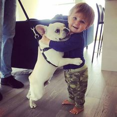Too cute! I hope one day to have a little one running around with my frenchie ❤️