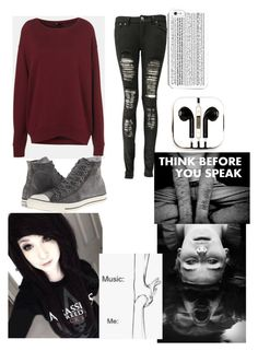 """""""Thinking too much..."""" by lovinme818 ❤ liked on Polyvore featuring Topshop, Boohoo, Converse and PhunkeeTree"""