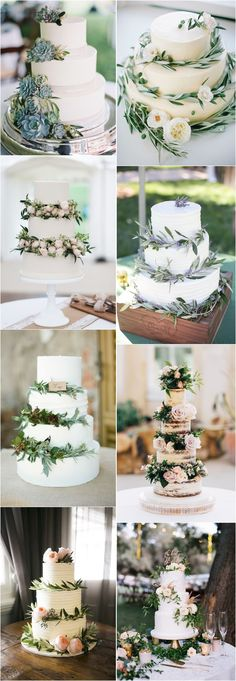 Green wedding color ideas - Greenery wedding cakes #weddings #greenweddings #weddingideas #rusticwedding