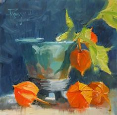 ❀ Blooming Brushwork ❀ - garden and still life flower paintings - Robin Weiss, Chinese Lanterns, 2011