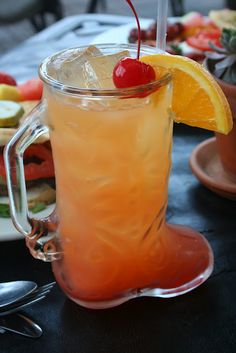 Tito's Texas Sunrise in a cowboy boot from the cocktail menu at Bread Winners in Dallas. Thanks @Oh So Cynthia Smoot for sharing!