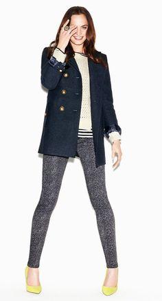 loft wool pea coat, sweater, and super skinny corduroys in tribal herringbone