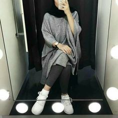 Grey knit oversized sweater-Hijab fashion style in winter – Just Trendy Girls