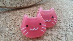 Pink Kitty Earrings WITH BRACELET pictured, Thick Plastic, Light on the Ears, White Whiskers, Japanese Style Cats, Statement Earrings by RawPossibility on Etsy