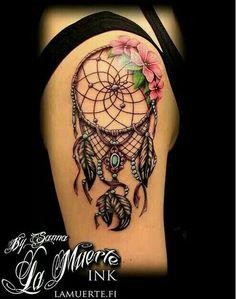 60 Dreamcatcher Tattoo Designs- 60 Dreamcatcher Tattoo Designs Dream Catcher Sleeve Tattoo with Flowers. Feather Tattoos, Nature Tattoos, Body Art Tattoos, New Tattoos, Sleeve Tattoos, Dreamcatcher Tattoos, Tatoos, Celtic Tattoos, Girl Tattoos