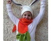 Funny bunny fleece set - Carrot scarf and bunny hat - OOAK - Original funny design