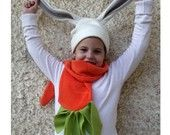 Funny bunny fleece set - Carrot scarf and bunny hat - OOAK - Original funny design