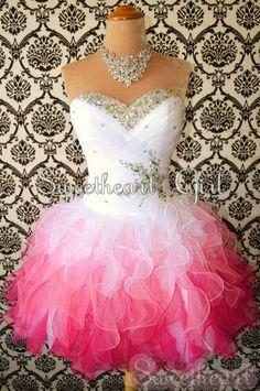 Sweetheart White/Red Mini Rhinestone Organza prom dress/homecoming dress