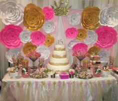Candy station for a sweet 15 in gold, pink and white