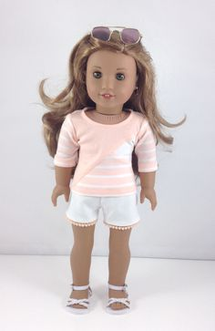 """18T Sweet & Sassy - Top, Shorts and Sandals for 18"""" Dolls like American Girl (R) Dolls like Lea, Tenney, Grace, Kit, Saige and McKenna by MjsDollBoutique18T on Etsy"""