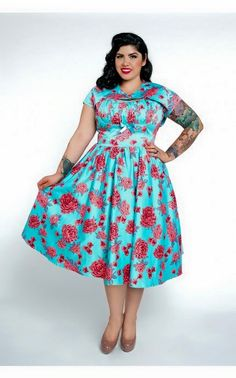 SOLD - Pinup Couture Blue & Pink Roses Evelyn Dress XL
