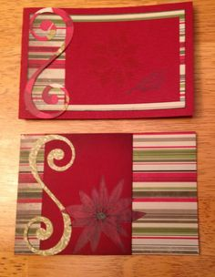 Christmas cards 2 ways, poinsettia, red, swirl