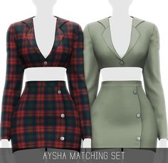 Aysha Matching Set by Simpliciaty Sims 4 Cc Packs, Sims 4 Mm Cc, Blazer And Shorts, Cropped Blazer, Matching Outfits, Matching Set, Sims 4 Dresses, Party Dresses, Sims 4 Characters
