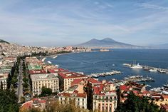 The world famous volcano, Vesuvius and the city of Naples in Campania