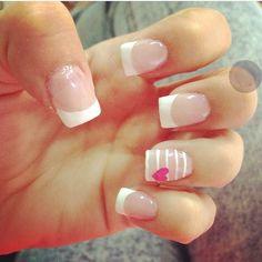 Short Nails, Finger Nails, Short Nail Manicure, Nail Manicure, Pink Nail, French Tips, Fingernail Designs, Sketches, Ongles