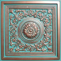 "24""x24"" Majesty Antique Copper Patina PVC 20mil Ceiling Tiles, Antique Ceilings- glue up ceiling tiles and drop in grid ceiling tiles- Antique Ceilings-"