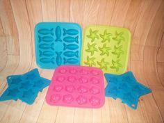 IKEA~ FISH, FLOWER,STARS  Silicone Ice Cube Tray Jello Chocolate Molds Lot of 5 #Ikea