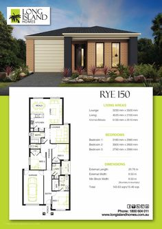 Rye 150 House Layout Plans, House Layouts, Small House Plans, House Floor Plans, Steel Framing, One Storey House, Storey Homes, Modern Homes, Types Of Houses