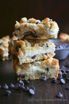 Low Carb Chocolate Chip Cookie Cheesecake Bars | All Day I Dream About Food