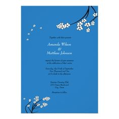 Royal Blue Cherry Blossom Wedding Invitations