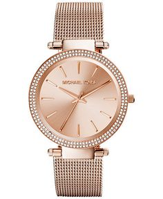 6f655db9b59 Michael Kors Women s Darci Rose Gold-Tone Stainless Steel Mesh Bracelet  Watch 39mm MK3369 -
