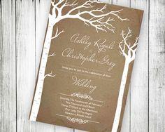 Rustic Birch Tree Wedding Invitation.  Printable Wedding Invite Ideas by VGInvites $22