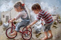 Art Painting by Maria Magdalena Oosthuizen includes Tricycle Angels, this example of Contemporary Art has inspired this exceptionally talented artist. View other Paintings by Maria Magdalena Oosthuizen in our Online Art Gallery. Painting People, Painting For Kids, South African Artists, Bicycle Art, Cycling Art, Illustrations, Anime Art Girl, Cute Illustration, Watercolor Print