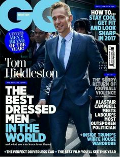 Hiddleston: Best Dressed Man In The World Tom Hiddleston Interview, Tom Hiddleston Loki, Comic Movies, Movie Characters, Alastair Campbell, Gq Magazine Covers, New Year New You, Best Dressed Man, Marvel Comic Character