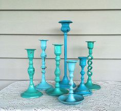 Turquoise & Mint Candlestick Grouping  Set of by ReFeatherYourNest, $56.00