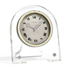 Art Deco Rock Crystal, White Enamel and Diamond Desk Clock, Cartier, France