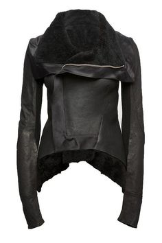 Rick Owens 2009 Shearling Peplum Jacket ($3,839). Distressed lamb/calf leather, 5% new wool, 60% cotton, oversized collar, asymmetrical frontal zip closure, extra long sleeves, woven silk banded trim, shearling lining and peplum detailing.실시간카지노실시간카지노