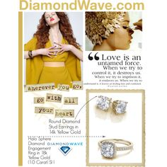 Designer Clothes, Shoes & Bags for Women Feeling Lost, Round Diamonds, Bracelet Watch, Stud Earrings, Polyvore, Stuff To Buy, Design, Women, Fashion
