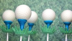 Golf Cake Balls - Golf Ball Cake Pops, Made with Beer Cake and Beer & Bacon Frosting. A great gift for Father's Day, golf lovers, bachelors, and me. Golf Cake Pops, Golf Ball Cake, Cake Ball, Golf Cakes, Golf Party, Party Fun, Party Time, Golfball, Cake Pop Tutorial
