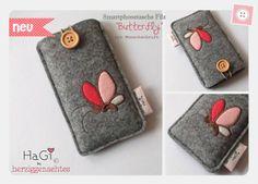 Smartphonetasche Filz Butterfly Iphonetasche von HaGi by Herzig ♥ Genaehtes auf DaWanda.com