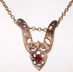 "Victorian 14K Gold Ruby Pendant Chain Necklace Lavalier Style 16"" Vintage"