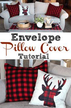 Envelope pillow cover tutorial using buffalo check fleece blanket!