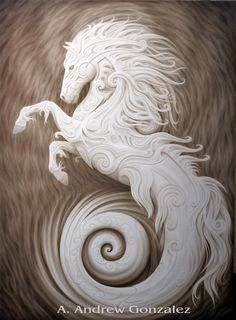"""""""Poseidon's Stallion"""" by A. Andrew Gonzalez I absolutely love the way the artists work looks like white marble, its so intricate and detailed. I hope that I can create something this beautiful someday!"""