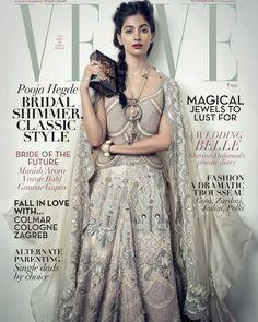Pooja Hegde makes her Magazine cover debut on Verve Celebrity Magazines, Bollywood Actress, Bollywood Girls, Beautiful Actresses, Indian Fashion, Women's Fashion, Lehenga, Wedding Styles, Glamour