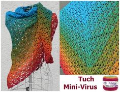 "Tuch ""Mini-Virus"" mit 1 Bobbel https://www.crazypatterns.net/de/items/30579/tuch-mini-virus-mit-1-bobbel-woolly-hugs-cotton-haekeln"